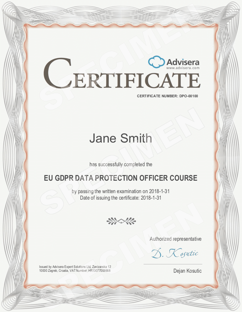 gdpr dpo course advisera online training