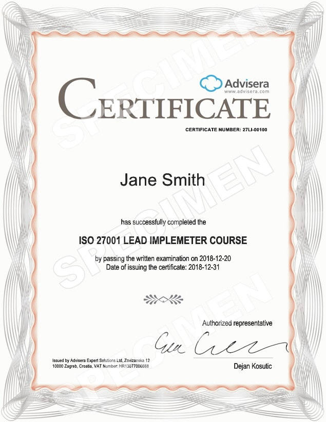 certification iso 27001 lead implementer